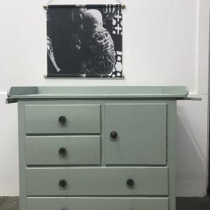 Vintage grote commode groen grijs H91 x B102 x D52 foto 1