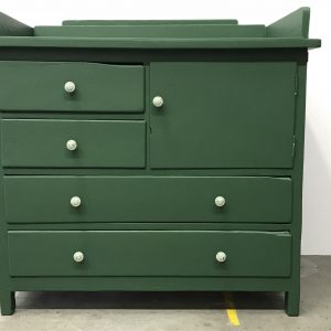 Vintage groene commode H90 x B93 x D54 foto 1