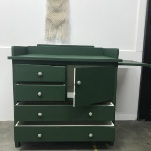 Vintage groene commode H90 x B93 x D54 foto 2