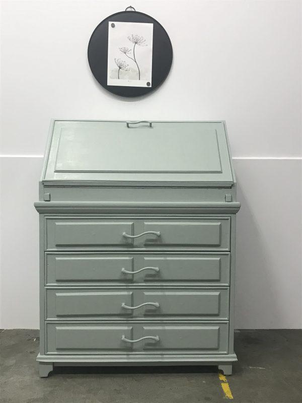 Vintage grijsgroene secretaire H100 x B84 x D30 foto 1