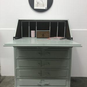 Vintage grijsgroene secretaire H100 x B84 x D30 foto 2