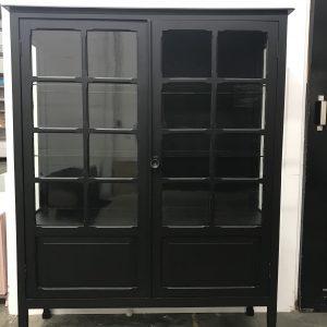 Vintage vitrinekast mat zwart H120 x B100 x D40 foto 2