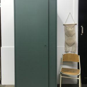 Vintage groene eendeurs kast H173xB71xD55