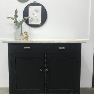 Vintage zwarte commode met marmeren blad H86xB100xD50