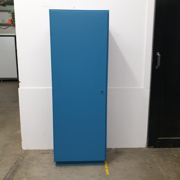 Vintage blauwe eendeurskast H171 x B 60 x D41 foto 1