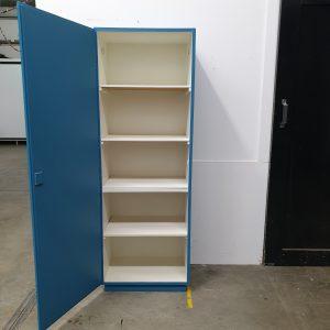 Vintage blauwe eendeurskast H171 x B 60 x D41 foto 4