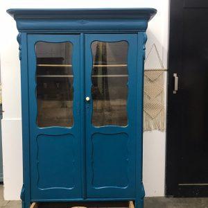 Vintage Biedermeier kledingkast met raampjes in blauw H 180 x B 115 x D 43 foto 2