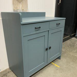 Vintage commode in grijs blauw H 85 x B 90 x D 49 foto 3