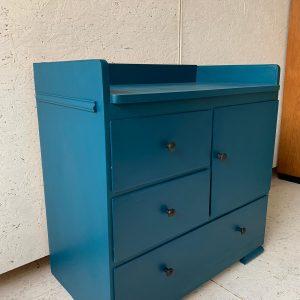 Vintage jaren '50 commode in petrol blauw H 78 x B 85 x D 44 foto 2