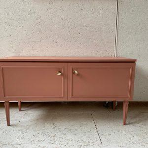 Vintage laag oudroze dressoir H 61 x B 116,5 x D 40 foto 1
